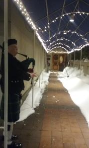 Pipers greeted guests as they arrived