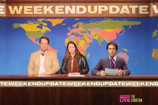 NL Weekend Update desk with tiny Chevy Chase superimposed