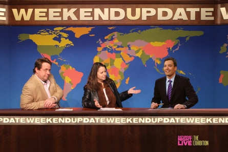 Weekend Update set with superimposed Jimmy Fallon at SNL exhibition