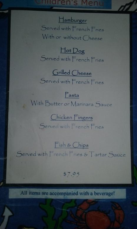Kids' menu at Popponesset Inn