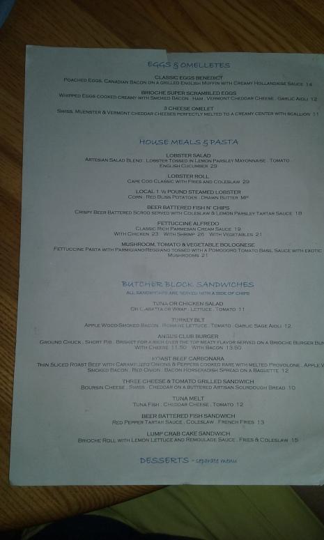 Menu at Popponesset Inn