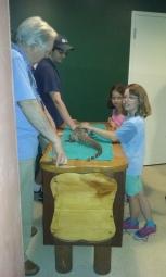 Petting a reptile at Mystic Aquarium