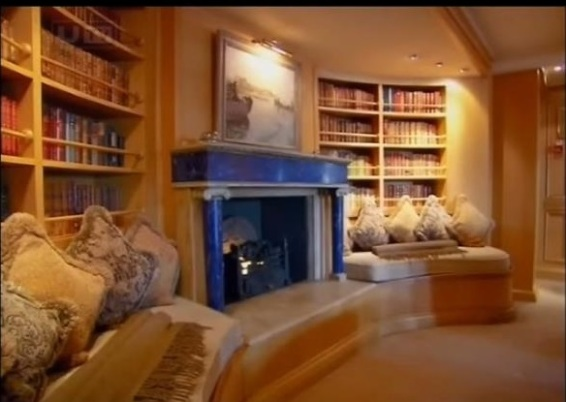 """Fireplace on the Christina O, courtesy of """"The Secret Mediterranean with Trevor McDonald"""""""
