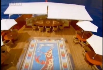 "Pool/dance floor on the Christina O, courtesy of ""The Secret Mediterranean with Trevor McDonald"""