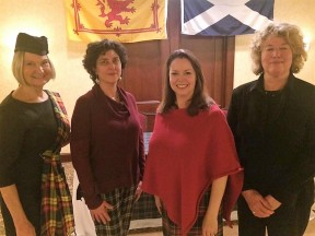 Greenwich Pen Women, from left: Deborah Weir, President; Kia Heavey, Letters member; Stasha Healy, Letters Chair and Burns Supper organizer; Leigh Grant, Letters member