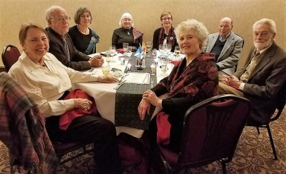 From left: Sue McClenachan, Joe Mygatt, Rosemary Mygatt, Margaret Rogers, Christine Sellge, Rolf Sellge, Bill Kies, Stefanie Kies. Photo by Stasha Healy