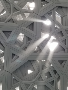 Looking up at Jean Nouvel's spectacular ceiling at the Louvre Abu Dhabi.