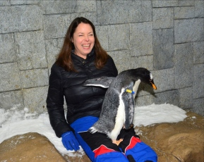 Anastasia Mills Healy and friend at Ski Dubai