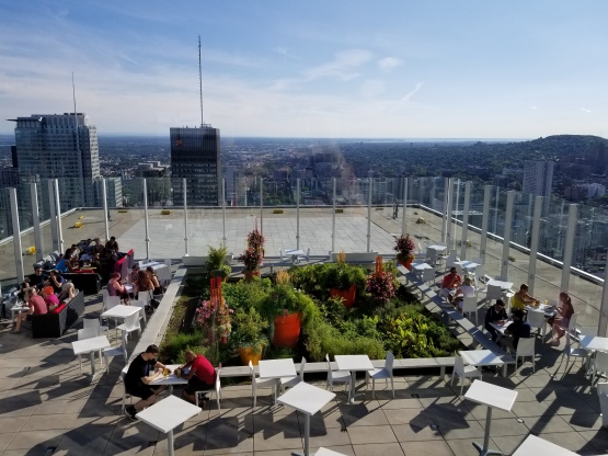 View from Les Enfants Terrible atop Place Ville Marie in Montreal