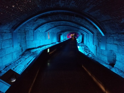 Subterranean tunnels at the Pointe-a-Calliere museum. Photo by Anastasia Mills Healy