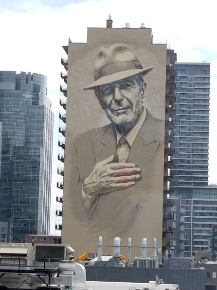 Leonard Choen mural as seen from Montreal Fine Arts Museum. Photo by Anastasia Mills Healy