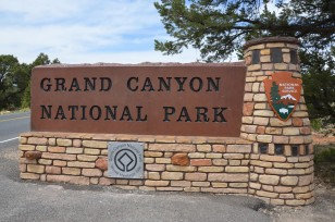 Grand Canyon entrance sign, courtesy Grand Canyon