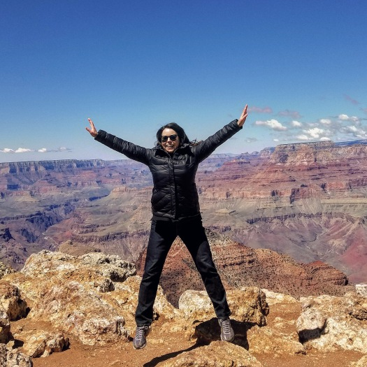 Author Anastasia Mills Healy at the Desert View area of the South Rim of the Grand Canyon in April 2019