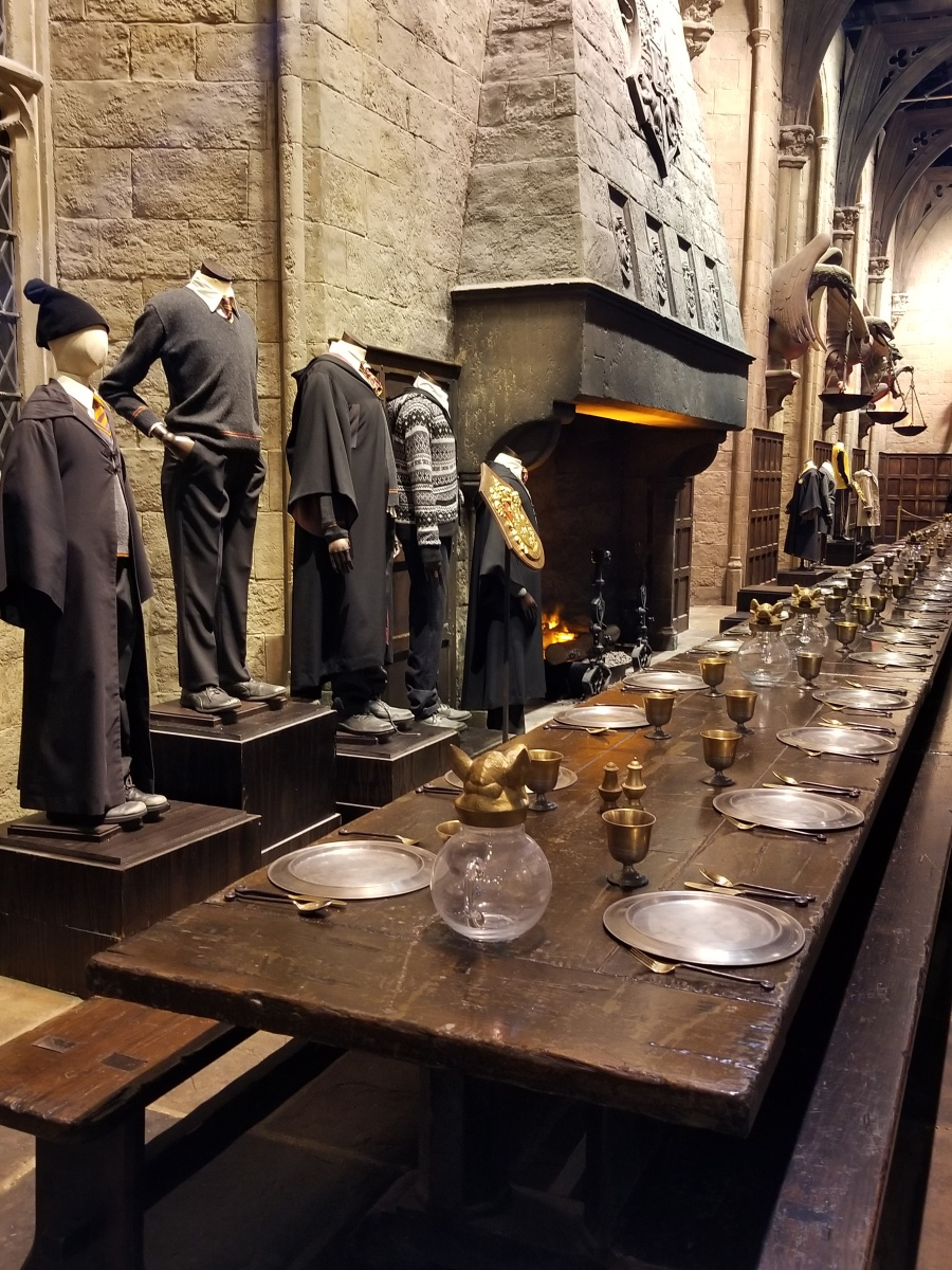 The Great Hall at Hogwarts and costumes at Warner Bros. Studio Tour London–The Making of Harry Potter. Photo by Anastasia Mills Healy.
