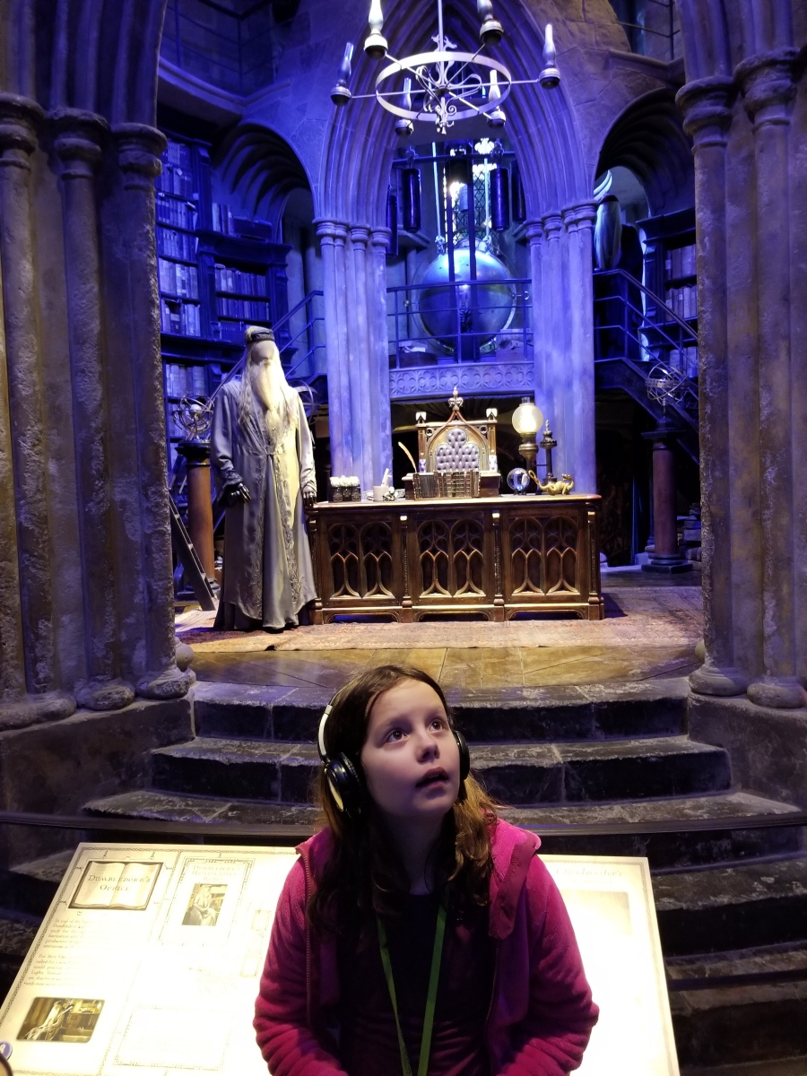 Child in Dumbledore's office at Warner Brothers Studio Tour, London--The Making of Harry Potter. Photo by Anastasia Mills Healy.