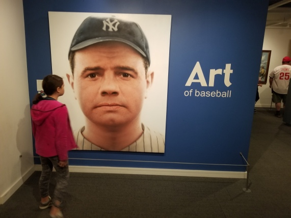 This artwork is a painting--not a photo!--of Babe Ruth. Photo by Anastasia Mills Healy