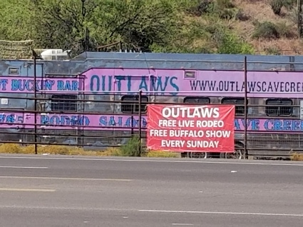 Who wouldn't want to go to a rodeo at a place called Outlaws? Photo by Anastasia Mills Healy