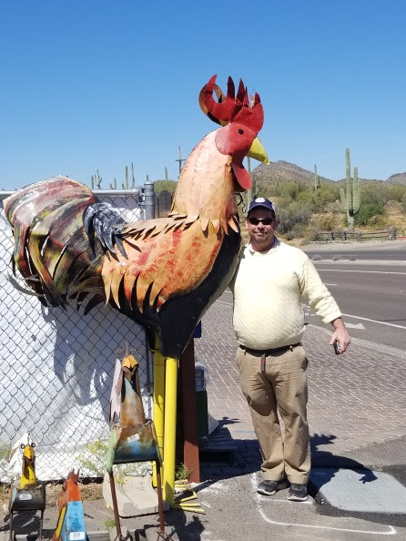 Just my husband and a giant chicken. Photo by Anastasia Mills Healy